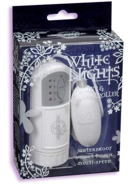 White Nights Velvet Touch Bullet And Controller Waterproof White