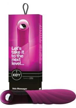 Key Vela Silicone Vibrator Waterproof 4.75 Inch Raspberry Pink