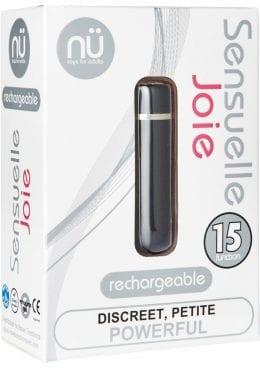 Nu Sensuelle Joie Discreet 15 Function USB Rechargeable Bullet Waterproof Black 2.5 Inch