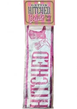 Gettin Hitched Bride Party Sash Glitter Pink 6 Feet