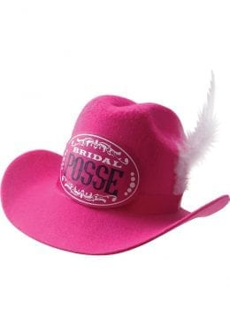 Gettin Hitched Clip On Cowgirl Bridal Posse Party Hat Pink