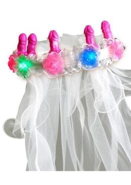 Bachelorette Party Favors Light-Up Pecker Veil Multi-Color Lights