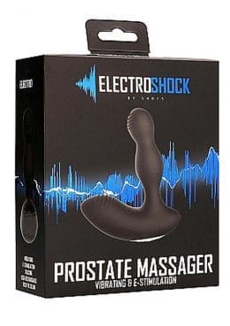 Electro Shock Prostate Massager Vibrating And Electro Stimulation Silicone Vibrator Black 4.72 Inch