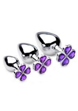 Bootyspark Violet Flower Gem Plug Set